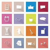 Collection of 16 Office Item Icons Banner — Stock Vector