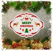 Vintage Christmas greeting-card — Stock Vector