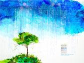 Single tree under rain cloud — Stock Vector