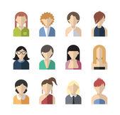 Set of twelve flat design icon women — Stock Vector