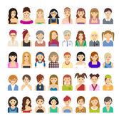 Avatar set of women — Stock Vector