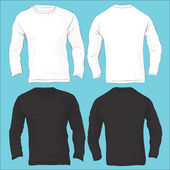 Men's Long Sleeved T-Shirt Template, Black White — Stock Vector