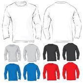 мужская с длинными рукавами футболки шаблон многих цвета — Cтоковый вектор