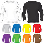Men's Long Sleeved T-Shirt Template in Many Color — Stock Vector