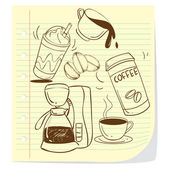 Coffee Doodle — Vettoriale Stock