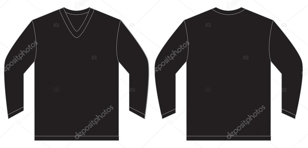 black long sleeve v neck shirt design template stock vector airdone 92529934. Black Bedroom Furniture Sets. Home Design Ideas