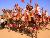Camel procession at Desert Festival, Jaisalmer, India — Stockfoto