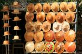 Display of traditional hats at the street market, Mingun, Mandal — Stockfoto