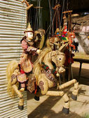 Display of traditional puppets at the street market, Mingun, Man — Stock Photo