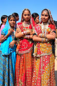 Young women in traditional dress taking part in Desert Festival, — Stock Photo