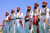 Indian men in traditional dress taking part in Mr Desert competi — Stock Photo