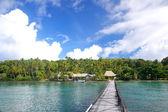 Long wooden pier at Nananu-i-Ra island, Fiji — Стоковое фото