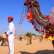 Indian man standing with his decorated camel at Desert Festival, — Stock Photo #56090939