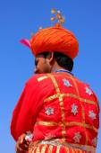 Indian man in traditional clothes taking part in Desert Festival — Stock Photo