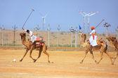 Camel polo match during Desert Festival, Jaisalmer, India — Stock Photo