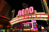 """Famous """"The Biggest Little City in the World"""" sign at night in R — Stock Photo"""