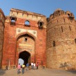 People walking through Bara Darwaza, Big gate of Purana Qila, Ne — Stock Photo #68870335