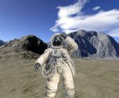 Digital render of landscape with astronaut — Stock Photo