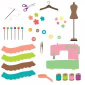 Sewing related elements on white — Stock Vector
