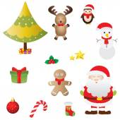 A vector illustration of a collection of Christmas icons — Stock Vector