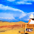 Young woman enjoying Painted Hills — Stock Photo #64571675