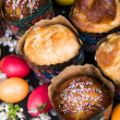 Easter sweet breads with colorful eggs and cherry branches — Stock Photo #53323117