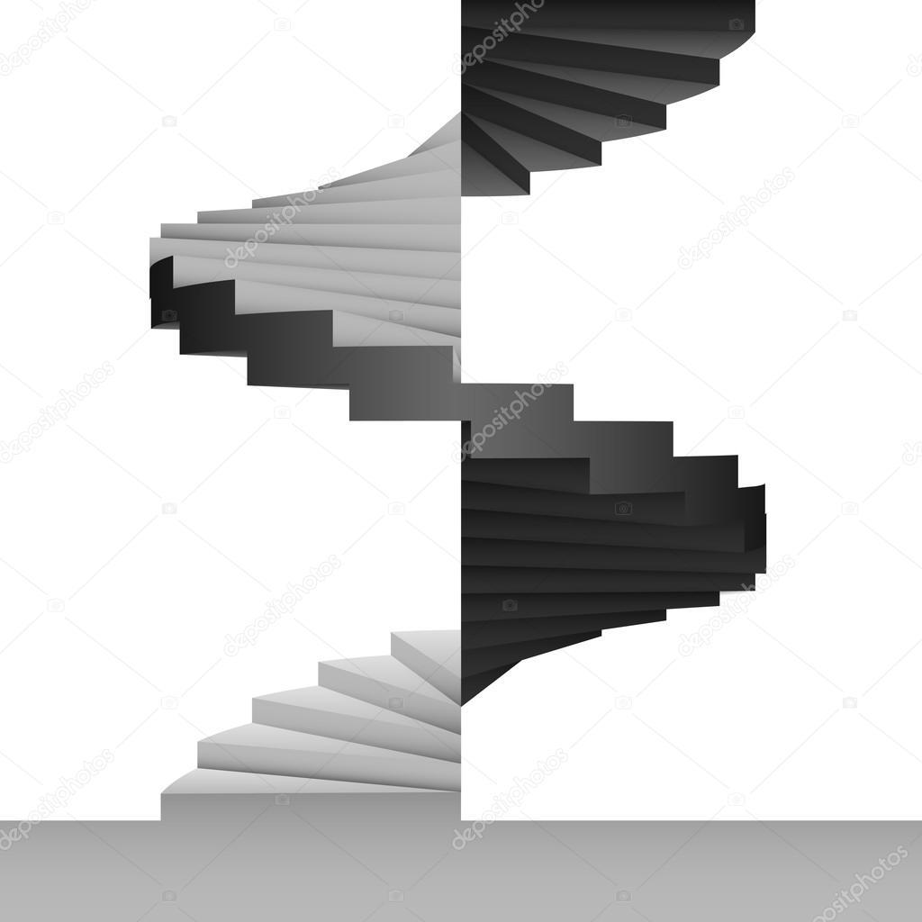 Svart och vit rund trappa design bakgrund — stock vektor © adikk ...