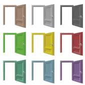 Isolated door open drawing color set — Stock Vector