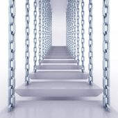 Chain hanged staircase steps to go up — Stock Photo