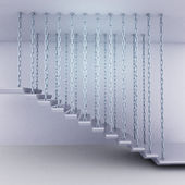 Chain hanged staircase steps side view — Stock Photo