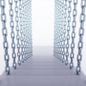 Chain hanged staircase steps on white — Stock Photo