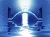 Connection bridge arch over river in blue light — Stock Photo