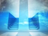 Two staircase ways decision concept in blue sky — Stock Photo