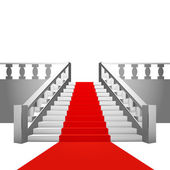 Red carpet on baroque staircase on white background — Stock Vector