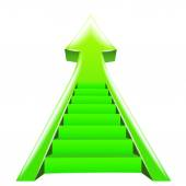 Green arrow up with staircase steps — Stock Vector