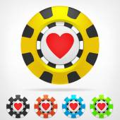 Heart poker chip set 3D object isolated — Stock Vector