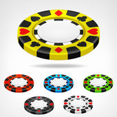 Poker chip isometric color set 3D object isolated — Stock Vector