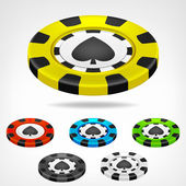 Spades poker chip isometric set 3D object isolated — Stock Vector
