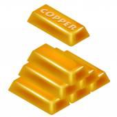 Kupfer bar pyramide 3d-design isoliert — Stockvektor