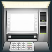 Illuminated cash machine with blank white screen — Stock Vector
