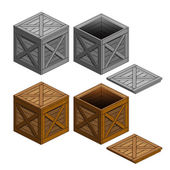 Crate box object collection isolated — Vettoriale Stock