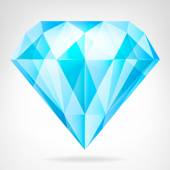 Blue clear diamond side view vector — Stock Vector