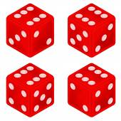 Square red dice object set isolated — Vettoriale Stock