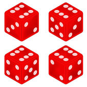 Square red dice object set isolated — Stockvektor