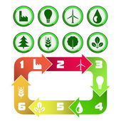 Ecological cycle diagram with green icons isolated  — Stock Vector
