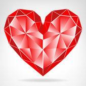 Diamond red heart icon isolated vector — Stockvector