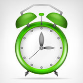 Green clock with running time — Stock Vector