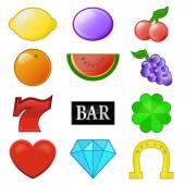 Casino slot symbols collection — Stock Vector