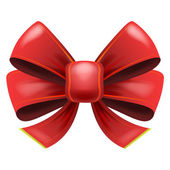 Red festive bow with knot — Stock Vector