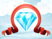 Diamond wealth with xmas bow — Stock Vector